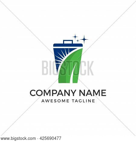 Trash. Trashcan Logo. Trashcan Logo With Leaf. Trashcan From Environment Collection. Trashcan Logo F