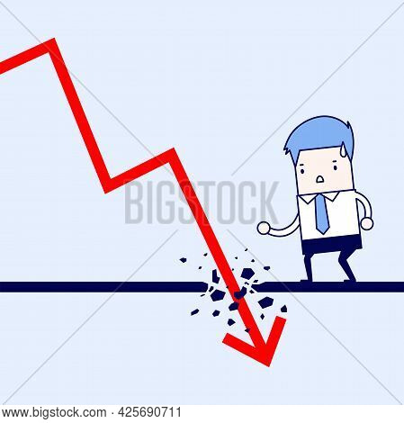 Businessman Looking Down At The Falling Arrow. Economic Collapse Definition. Cartoon Character Thin