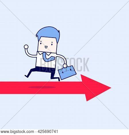 Businessman Running Opposite Arrow Way. Cartoon Character Thin Line Style Vector.