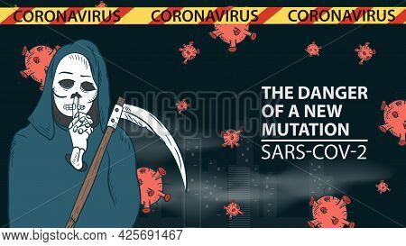 Banner Illustration For The Design Of The New Virus Corona Sars-cov-2, Death With A Scythe On The Ba