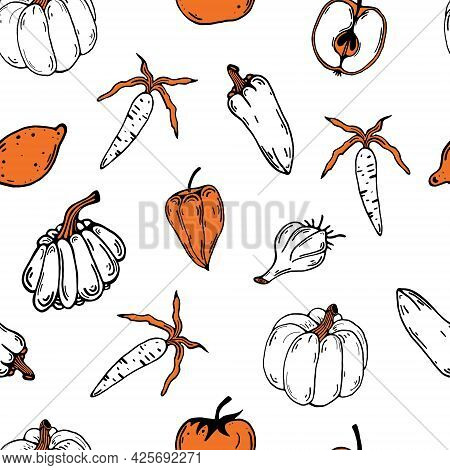 Vegetables And Fruits Seamless Vector Pattern. Hand Drawn Doodle On A White Background. Colored Abst