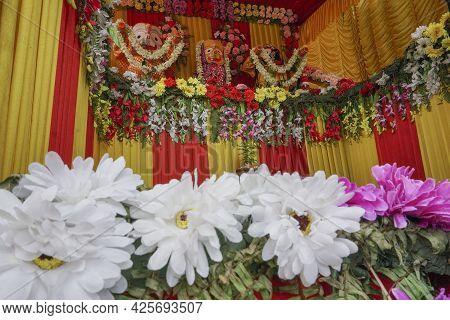 Idol Of God Jagannath, Balaram And Suvodra Inside Chariot. Ratha Jatra Festival At Howrah, West Beng