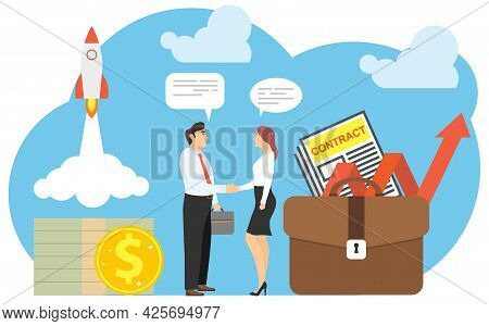 Conclusion Of A Deal, A Lucrative Contract. A Man And A Woman Shake Hands. Vector Illustration. Vect