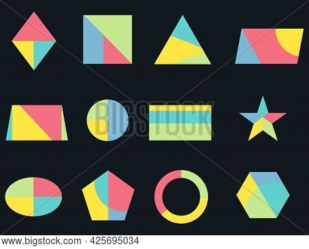 Geometric Shapes, Multicolored Geometric Shapes Icons On A Black Background. Vector Illustration. Ve