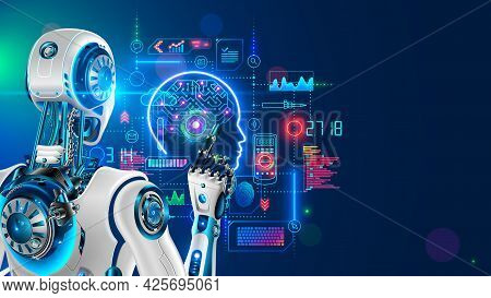 Robot Or Cyborg Programming Artificial Intelligence In Cyberspace. Ai In Industrial Revolution. Mach