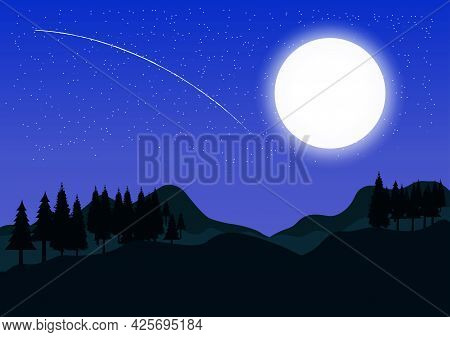 Graphics Image Landscape View Forest Tree Mountain Silhouette Twilight With Moon Vector Illustration