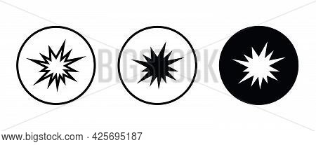 Flash, Explosion Icon, Bursting Vector, Sign, Symbol, Logo, Illustration, Editable Stroke, Flat Desi