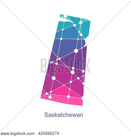 Map Of Saskatchewan. Concept Of Travel And Geography Of Canada.