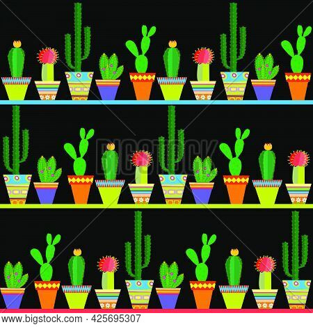 Seamless Pattern With Rows Of Different Cactus Over Black Background