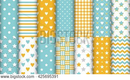 Set Of 14 Trendy Colors Seamless Patterns. Hearts, Stars, Polka Dot, Zigzag, Stripes. Turquoise, Yel