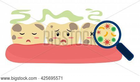 Dirty And Smelly Teeth Cartoon Character Concept Vector Illustration On White Background. Magnifying