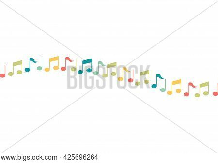 Colorful Tone Symbol Background With Music And Song Theme With A Wave-shaped Arrangement