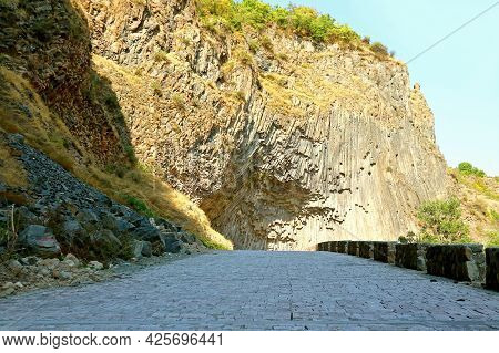 Mountain Road To The Symphony Of Stones, Amazing Basalt Column Formations Along The Garni Gorge In T