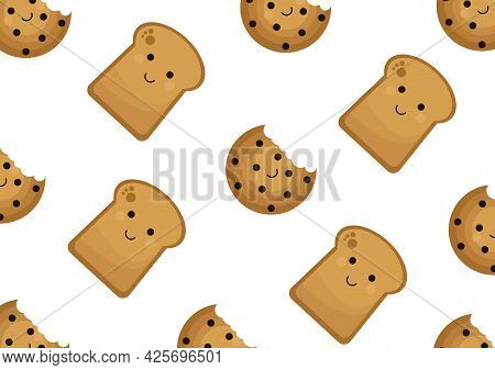 Pattern With The Theme Of Sweet Chocolate Food, Biscuits And Bread With A Sweet And Adorable Face