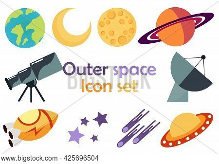 Icon Set With Space Theme With Rocket, Ufo, Moon, Star, Planet, Meteor And Satellite Design