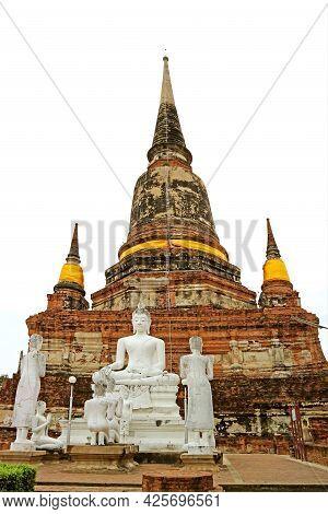 Historic Chedi With Buddha Images In Wat Yai Chai Mongkhon Buddhist Temple, Ayutthaya Old City, Thai