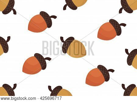 Acorn Pattern With A Brown Color Theme, With A Mix Of Light Brown And Dark Brown