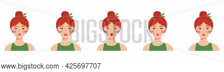Set Of Female Emotions. Expression Of The Face. Girl S Avatar. Basic Emotions. Woman With Pink Hair