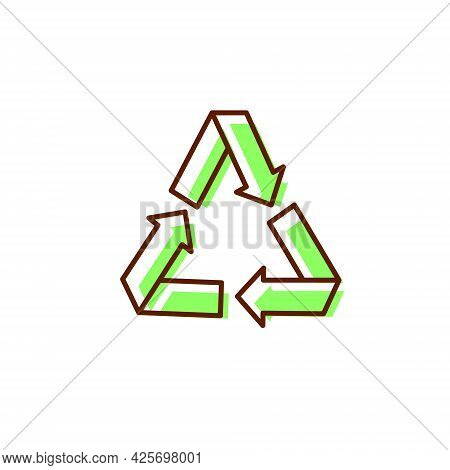 Processing Concept Flat Icon. Recyclable Fabric Feature. Material Quality. Save Planet. Color Symbol