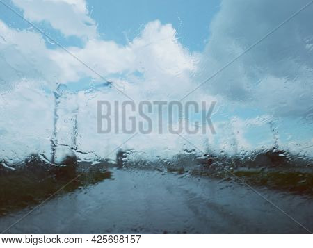 Blurred Image In Front Of Car Windshield When It Rains