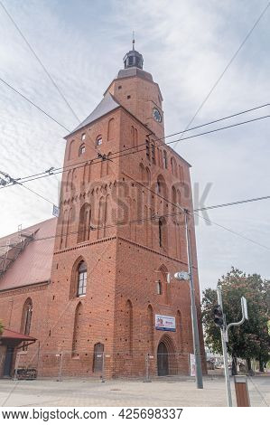 Gorzow Wielkopolski, Poland - June 1, 2021: Tower Of St. Mary's Cathedral.