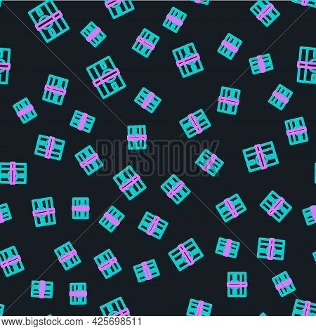 Line Stacks Paper Money Cash Icon Isolated Seamless Pattern On Black Background. Money Banknotes Sta