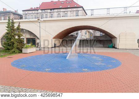 Gorzow Wielkopolski, Poland - June 1, 2021: Sundial At Warta Boulevards.