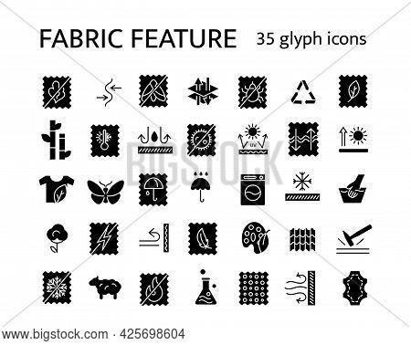 Material Properties Glyph Icons Set. Fiber Diversity. Uv Protection, Fireproof Fiber. Organic Cotton