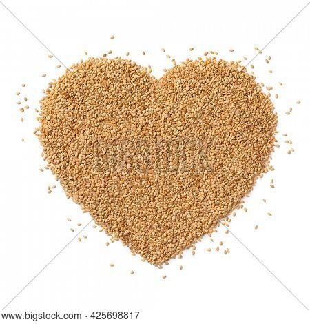 Sesame seed in heart shape isolated on white background