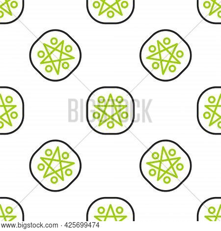 Line Pentagram In A Circle Icon Isolated Seamless Pattern On White Background. Magic Occult Star Sym
