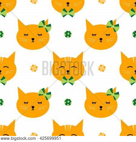 Cute Cartoon Style Ginger Cats With Bows And Cat Toys Vector Seamless Pattern Background.