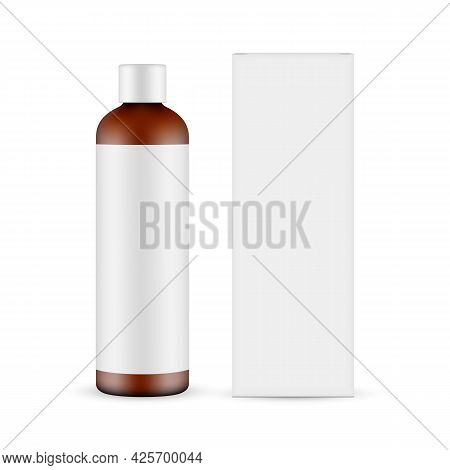 Tall Amber Cosmetic Bottle Mockup With Label, Paper Box, Front View, Isolated On White Background. V