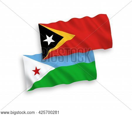 National Fabric Wave Flags Of Republic Of Djibouti And East Timor Isolated On White Background. 1 To