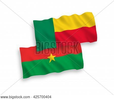 National Fabric Wave Flags Of Burkina Faso And Benin Isolated On White Background. 1 To 2 Proportion