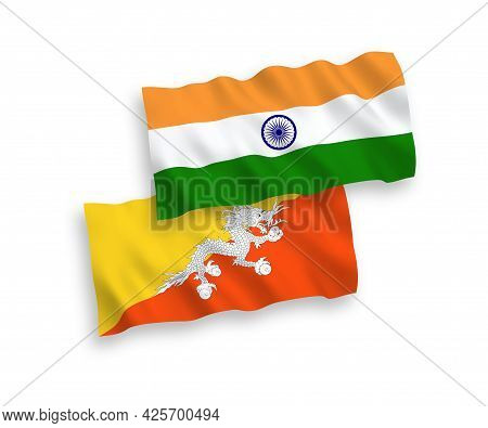 National Fabric Wave Flags Of India And Kingdom Of Bhutan Isolated On White Background. 1 To 2 Propo