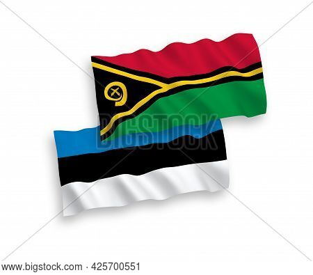 National Fabric Wave Flags Of Estonia And Republic Of Vanuatu Isolated On White Background. 1 To 2 P