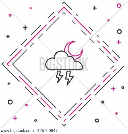 Line Storm Icon Isolated On White Background. Cloud With Lightning And Moon Sign. Weather Icon Of St