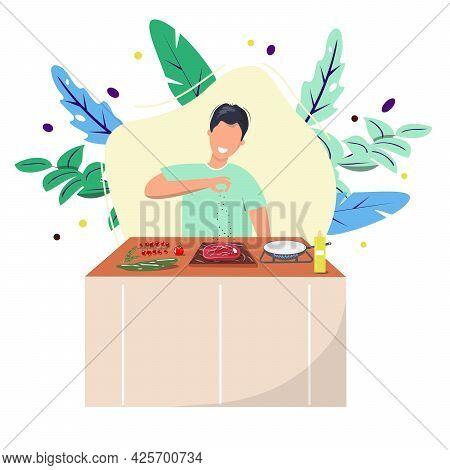 Man Preparing Steak For Dinner. Young Man Preparing Juicy Slice Of Meat Home In The Kitchen. Flat De