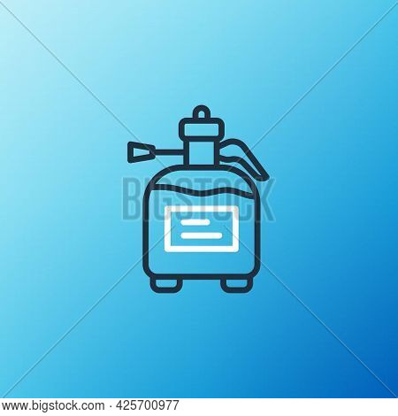 Line Garden Sprayer For Water, Fertilizer, Chemicals Icon Isolated On Blue Background. Colorful Outl