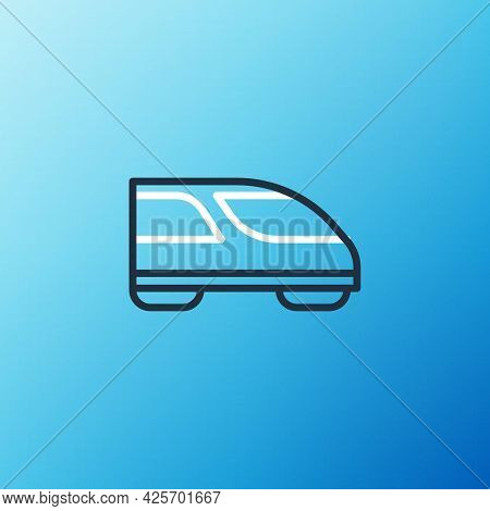 Line High-speed Train Icon Isolated On Blue Background. Railroad Travel And Railway Tourism. Subway