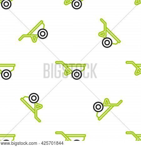 Line Wheelbarrow With Dirt Icon Isolated Seamless Pattern On White Background. Tool Equipment. Agric