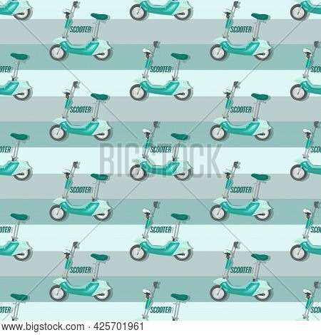 Electric Scooter. Striped Vector Background. Fast For Food Delivery. Motorcycle. Trendy Scooter.