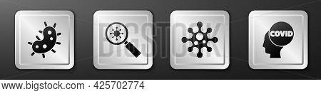 Set Virus, Virus Under Magnifying Glass, Virus And Corona Virus Covid-19 Icon. Silver Square Button.