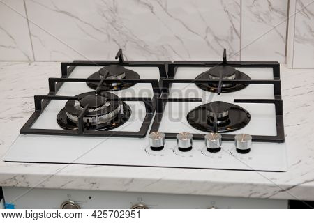 Gas Stove At Gray Colored Kitchen. Kitchen Stove.
