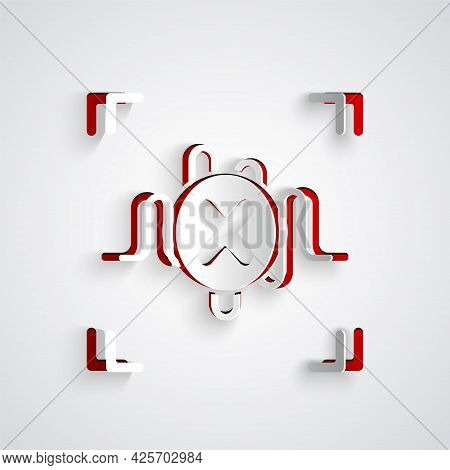 Paper Cut Rejection Voice Recognition Icon Isolated On Grey Background. Voice Biometric Access Authe