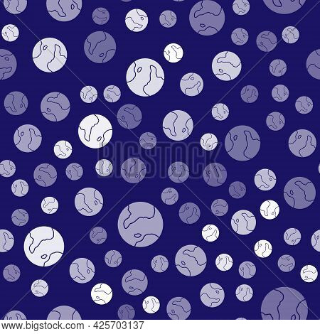 White Earth Globe Icon Isolated Seamless Pattern On Blue Background. World Or Earth Sign. Global Int