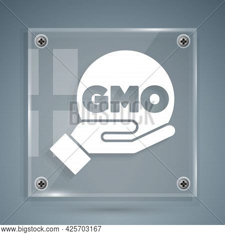 White Gmo Icon Isolated On Grey Background. Genetically Modified Organism Acronym. Dna Food Modifica