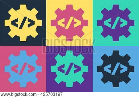Pop Art Web Design And Front End Development Icon Isolated On Color Background. Vector