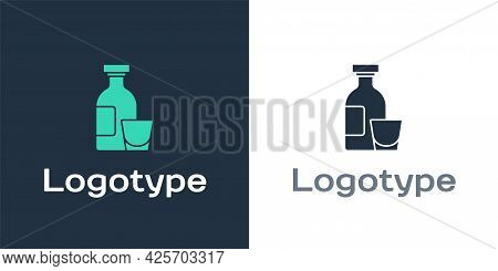 Logotype Alcohol Drink Rum Bottle And Glass Icon Isolated On White Background. Logo Design Template