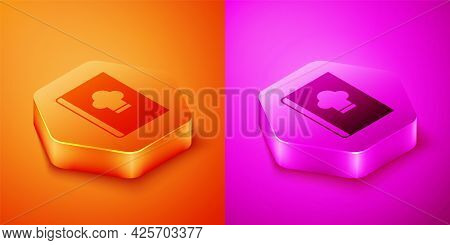 Isometric Cookbook Icon Isolated On Orange And Pink Background. Cooking Book Icon. Recipe Book. Fork